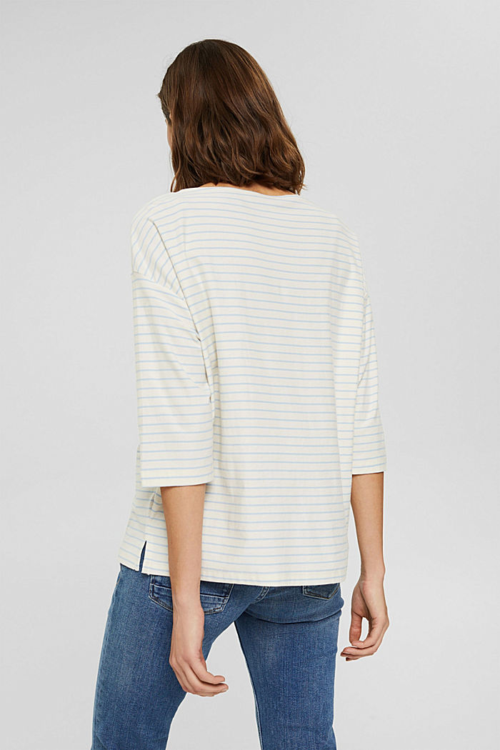 Striped long sleeve top, organic cotton, PASTEL BLUE, detail image number 3