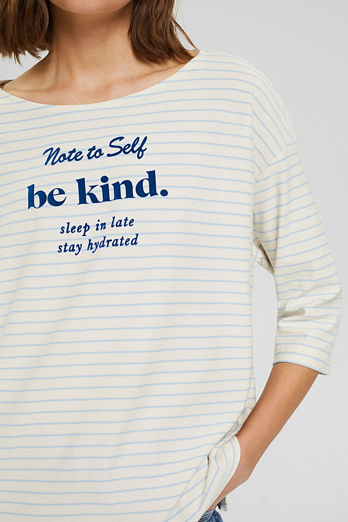 Striped long sleeve top, organic cotton, PASTEL BLUE, detail image number 2
