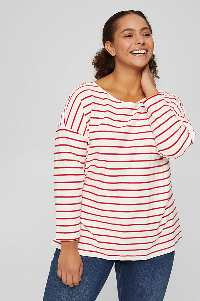 CURVY jersey long sleeve top in organic cotton