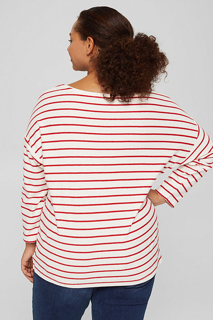 CURVY jersey long sleeve top in organic cotton, RED, detail image number 3