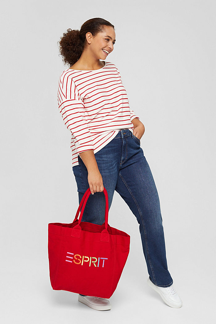 CURVY jersey long sleeve top in organic cotton, RED, detail image number 1
