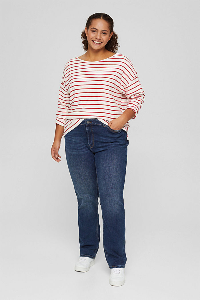 CURVY jersey long sleeve top in organic cotton, RED, detail image number 5