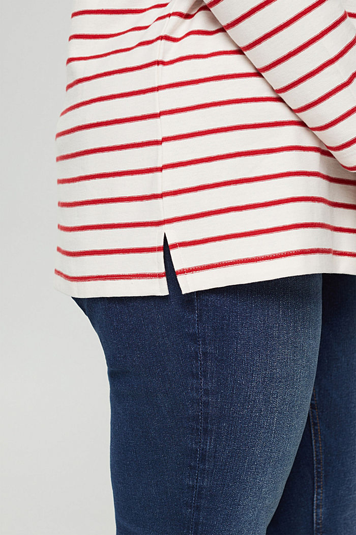CURVY jersey long sleeve top in organic cotton, RED, detail image number 2