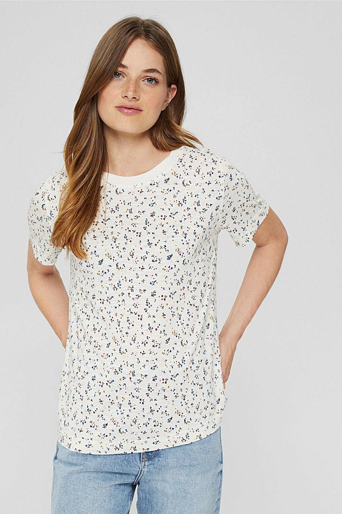 T-shirt à imprimé en coton bio mélangé, OFF WHITE, detail image number 0