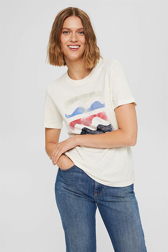 Print-T-Shirt aus Bio-Baumwolle/TENCEL™, OFF WHITE, detail image number 0