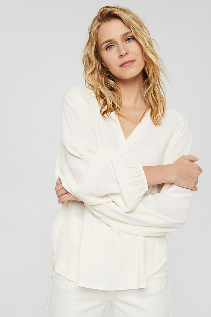 Wide blouse top in jersey and cloth, OFF WHITE, detail image number 0