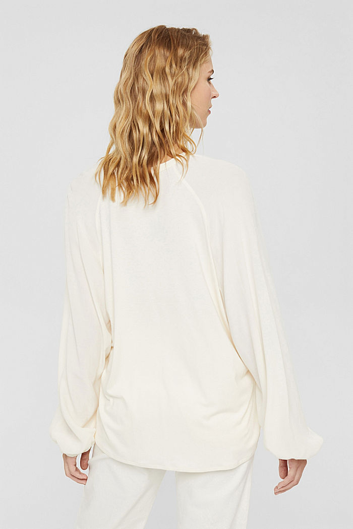 Wide blouse top in jersey and cloth, OFF WHITE, detail image number 3