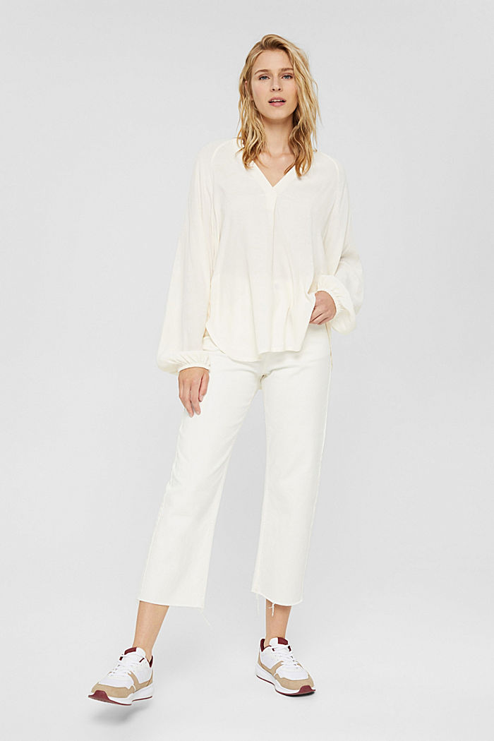 Wide blouse top in jersey and cloth, OFF WHITE, detail image number 1