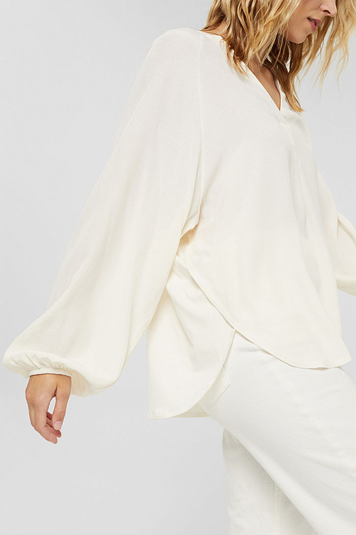 Wide blouse top in jersey and cloth, OFF WHITE, detail image number 2