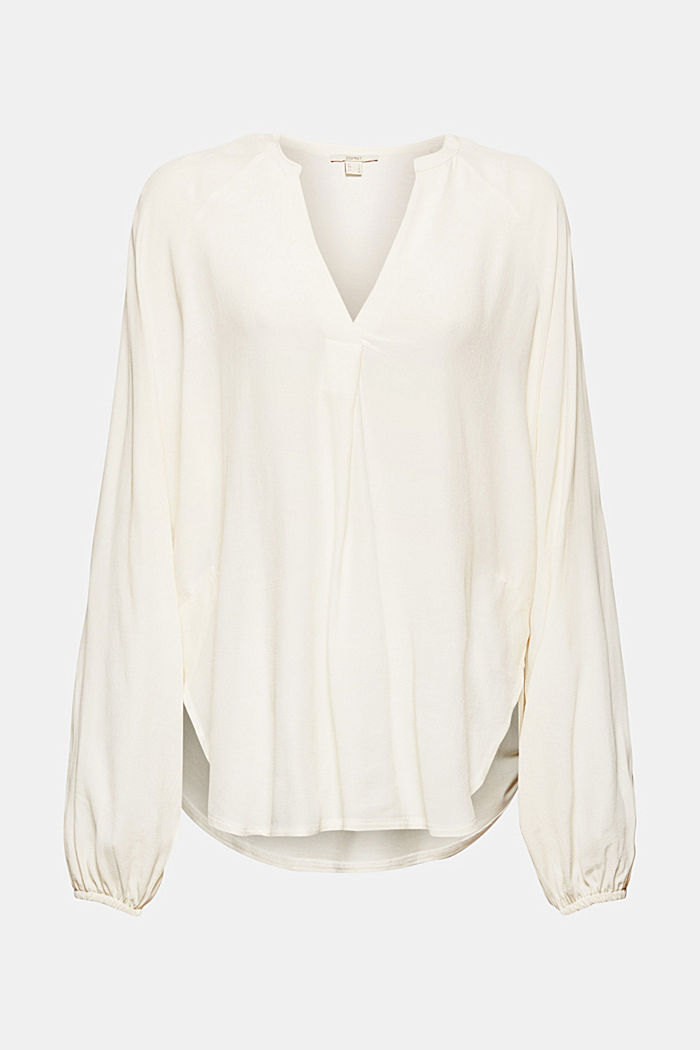 Wide blouse top in jersey and cloth, OFF WHITE, detail image number 5
