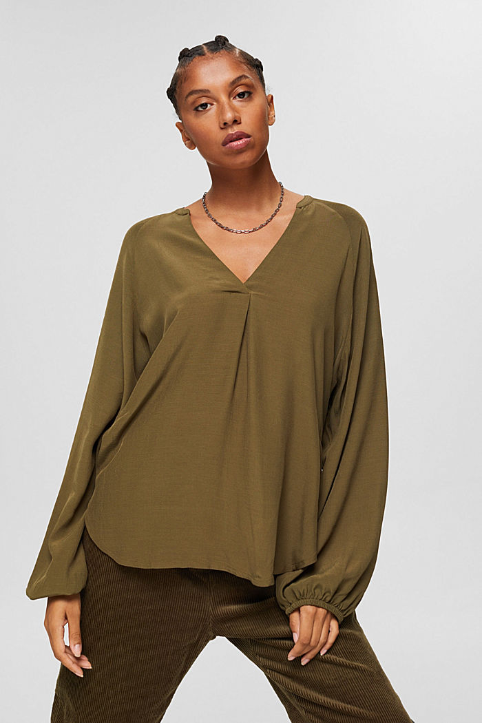 Wide blouse top in jersey and cloth, DARK KHAKI, detail image number 0