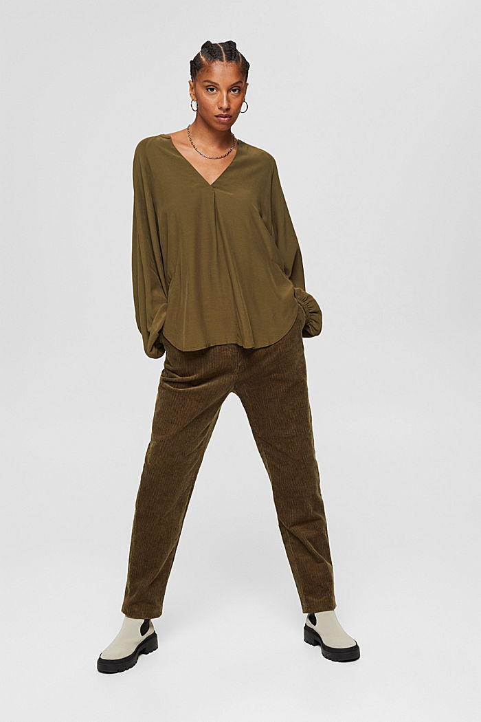 Wide blouse top in jersey and cloth, DARK KHAKI, detail image number 4