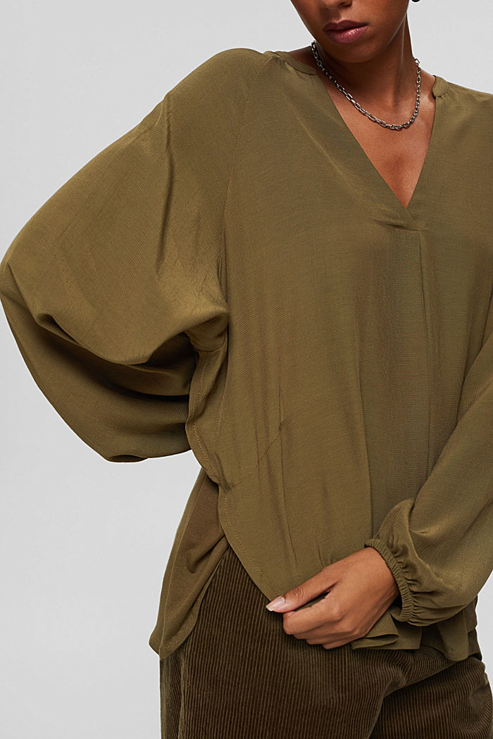 Wide blouse top in jersey and cloth, DARK KHAKI, detail image number 2