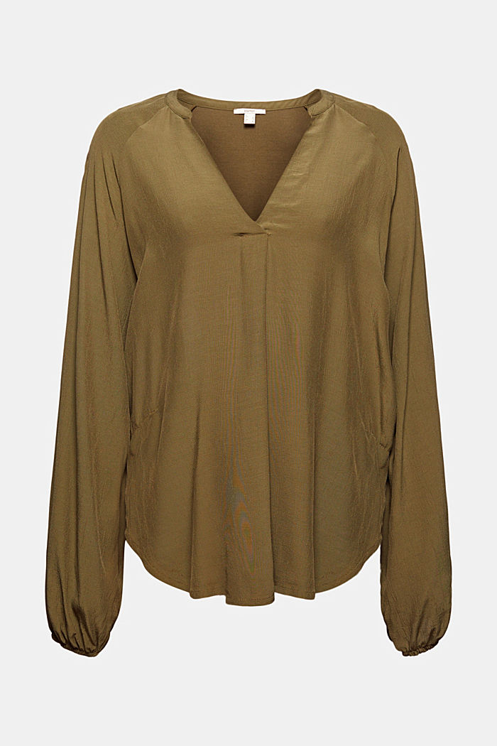 Wide blouse top in jersey and cloth, DARK KHAKI, detail image number 5