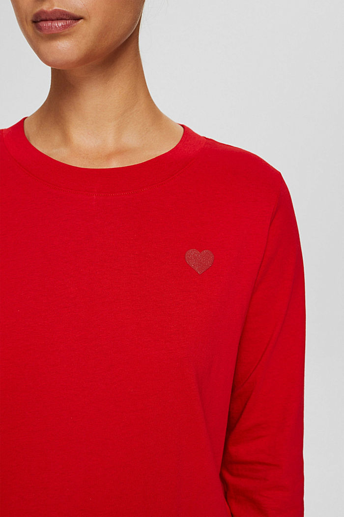 Longsleeve mit Herz-Print, 100% Bio-Baumwolle, RED, detail image number 2
