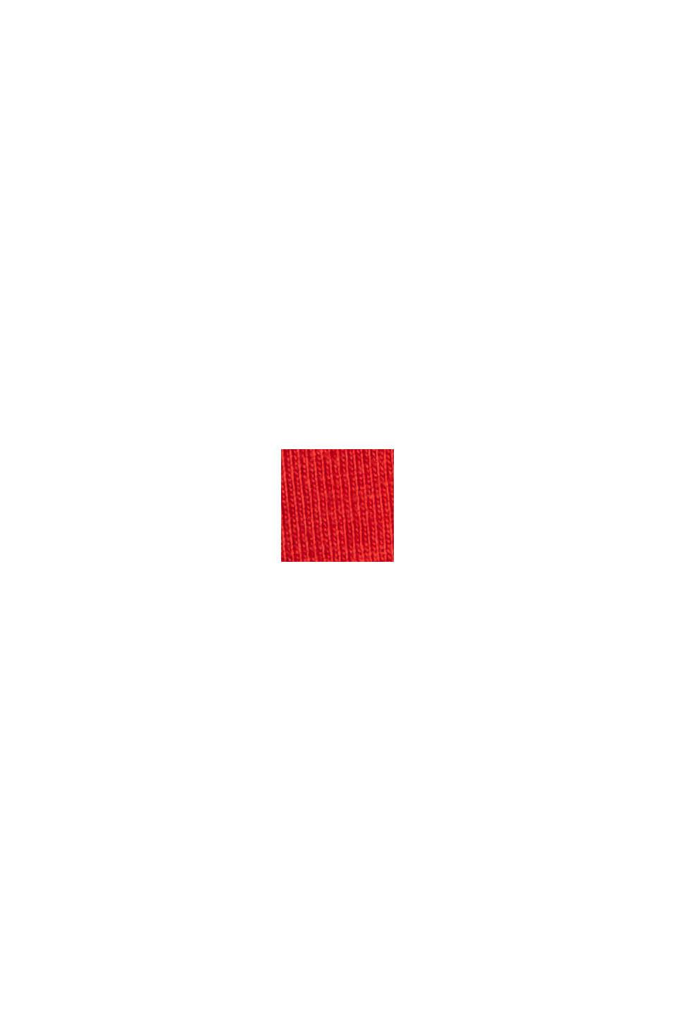 Maglia a maniche lunghe con stampa di cuore, 100% cotone biologico, RED, swatch