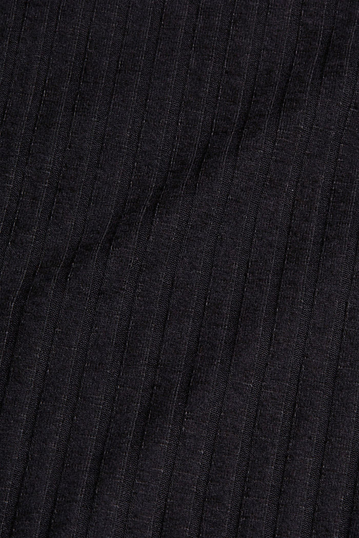 Geripptes Longsleeve mit Baumwolle, BLACK, detail image number 4