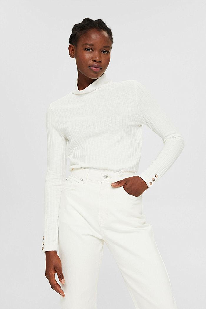 Camiseta de manga larga acanalada con algodón, OFF WHITE, detail image number 0