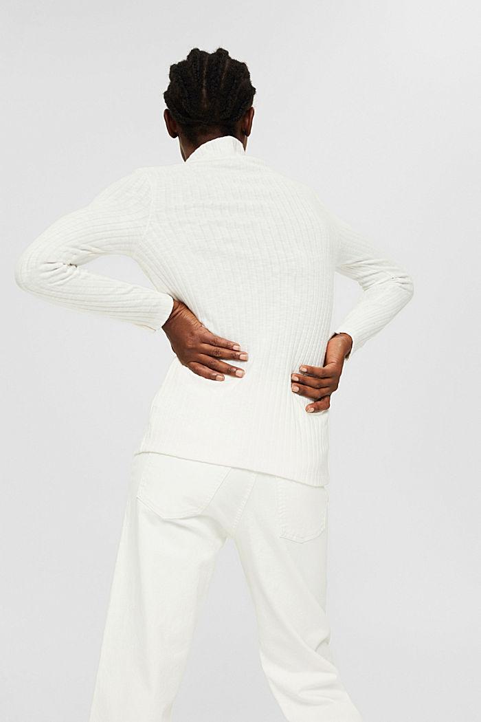 Camiseta de manga larga acanalada con algodón, OFF WHITE, detail image number 3