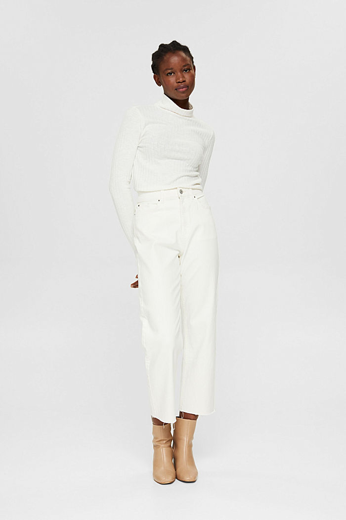 Ribbed long sleeve top with cotton