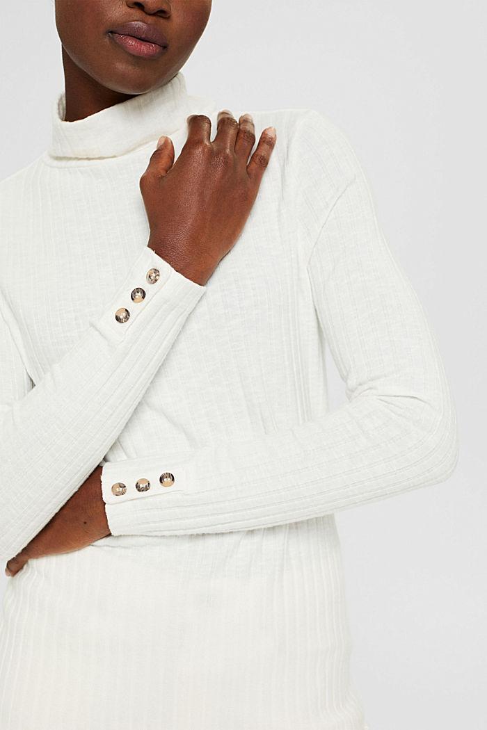 Camiseta de manga larga acanalada con algodón, OFF WHITE, detail image number 2