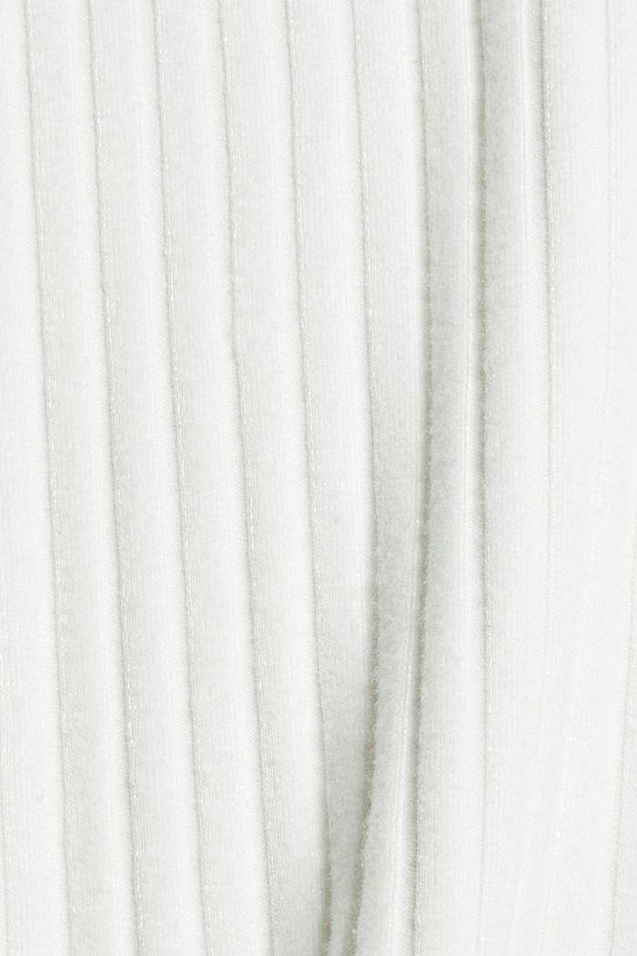 Camiseta de manga larga acanalada con algodón, OFF WHITE, detail image number 4