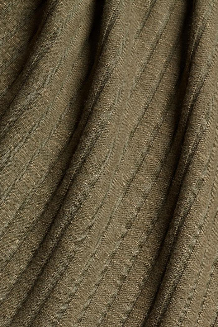 Geripptes Longsleeve mit Baumwolle, DARK KHAKI, detail image number 4