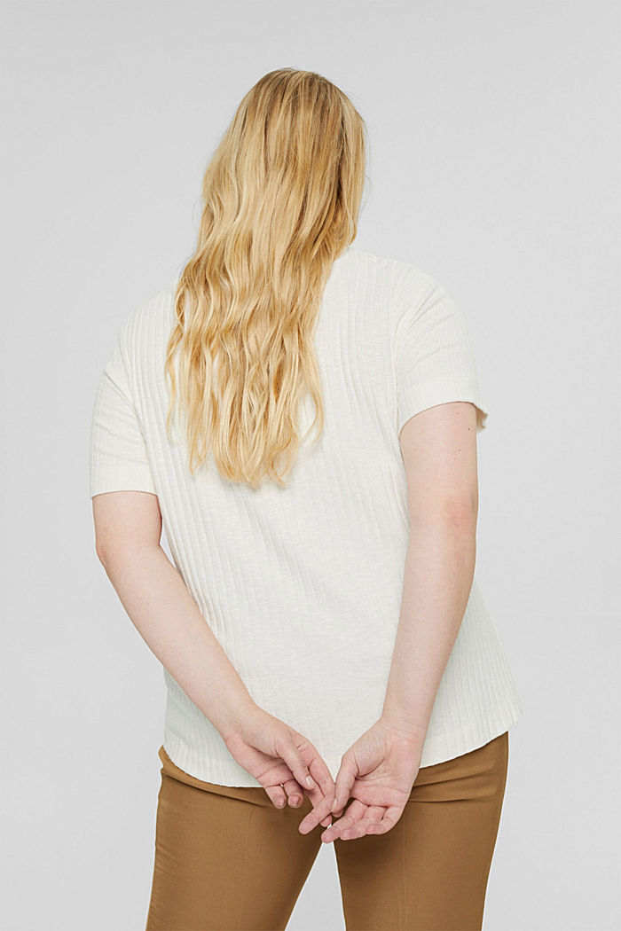 CURVY geripptes T-Shirt aus Materialmix, OFF WHITE, detail image number 3