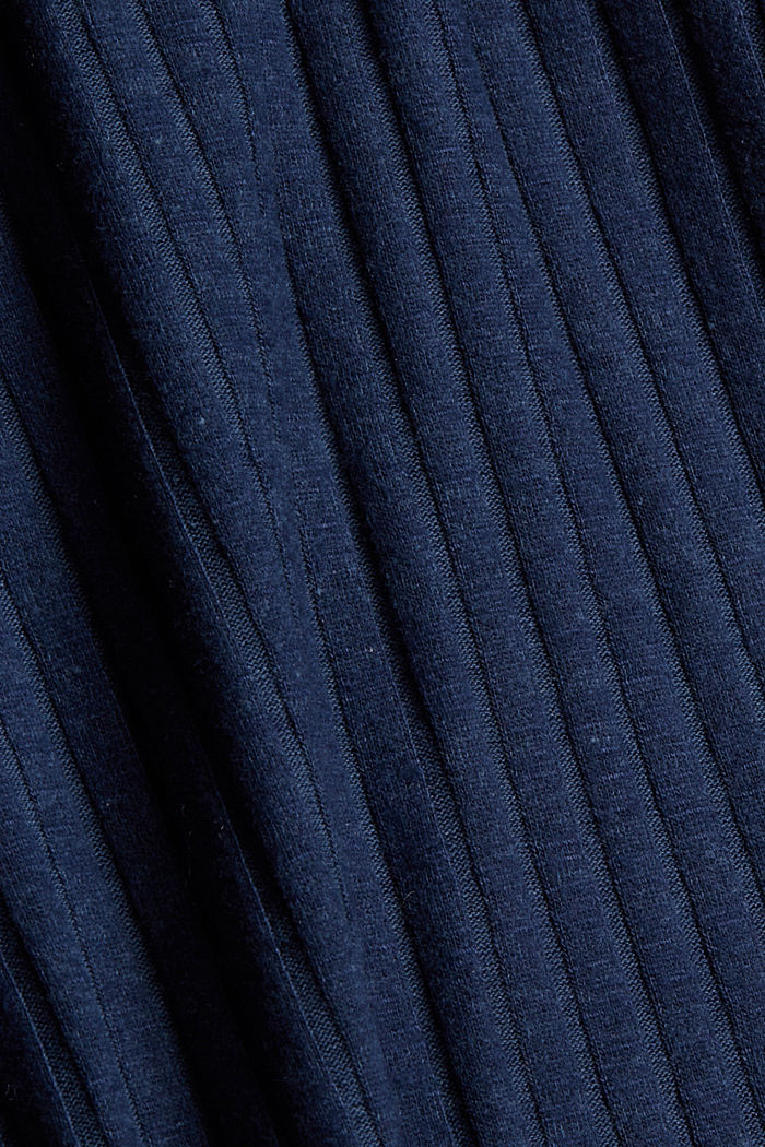 CURVY ribbed T-shirt in a material mix, NAVY, detail image number 4