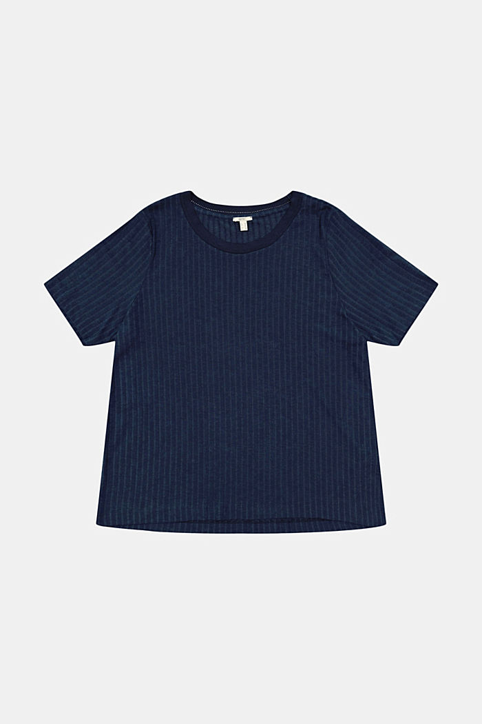 CURVY ribbed T-shirt in a material mix, NAVY, detail image number 7