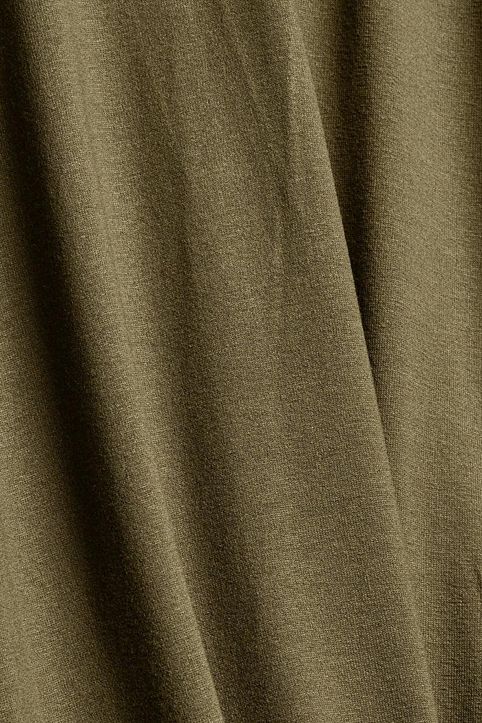 CURVY Tunika-Bluse aus Material-Mix, DARK KHAKI, detail image number 4