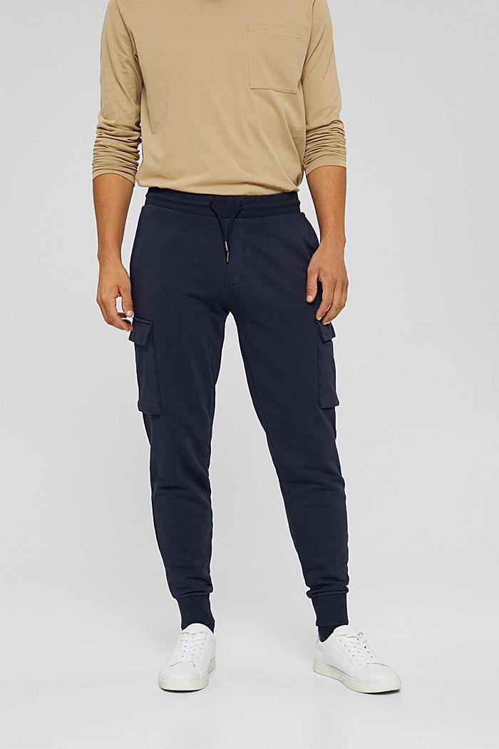 Pantalón jogging de diseño cargo, algodón ecológico, NAVY, detail image number 0