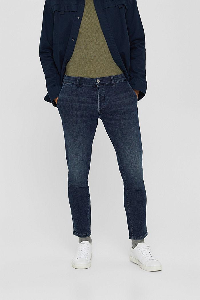 Chino en jean en coton biologique, BLUE DARK WASHED, detail image number 0
