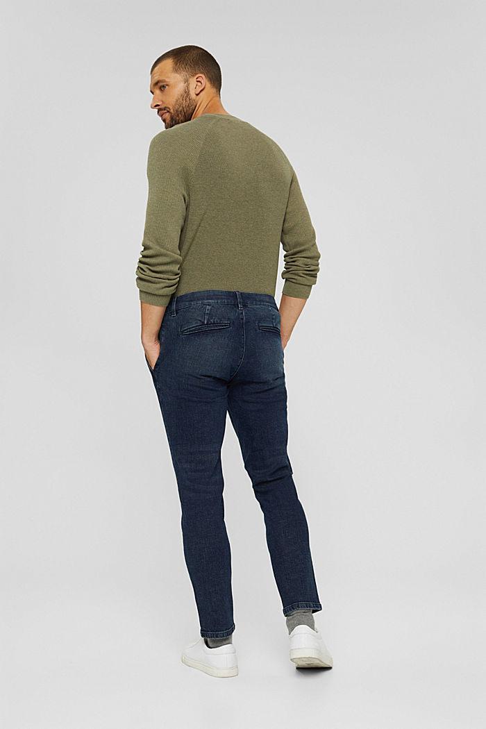 Chino en jean en coton biologique, BLUE DARK WASHED, detail image number 1