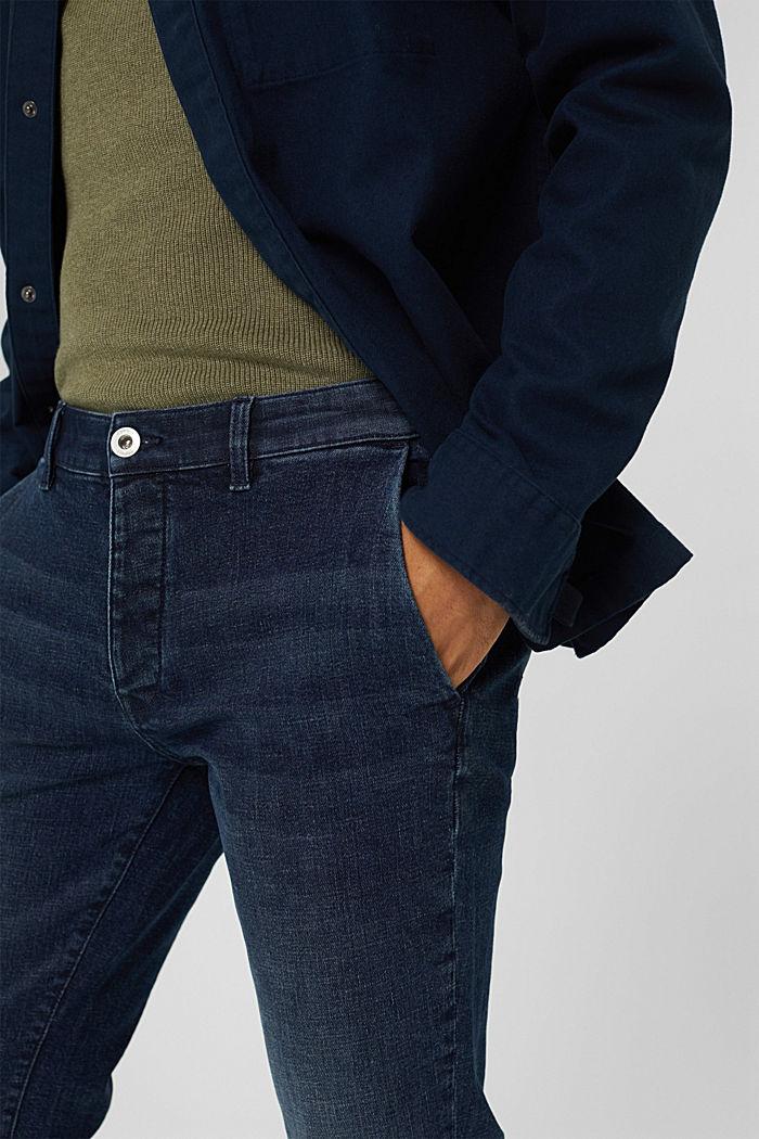 Chino en jean en coton biologique, BLUE DARK WASHED, detail image number 3