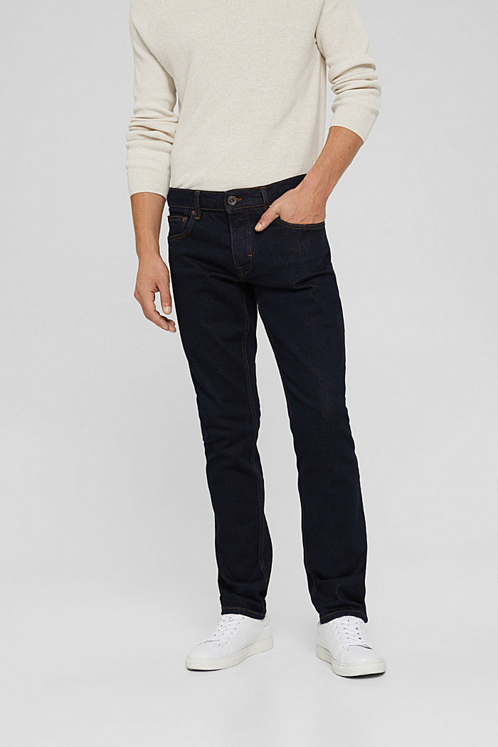 Stretch-Jeans aus Bio-Baumwoll-Mix, BLUE RINSE, detail image number 0