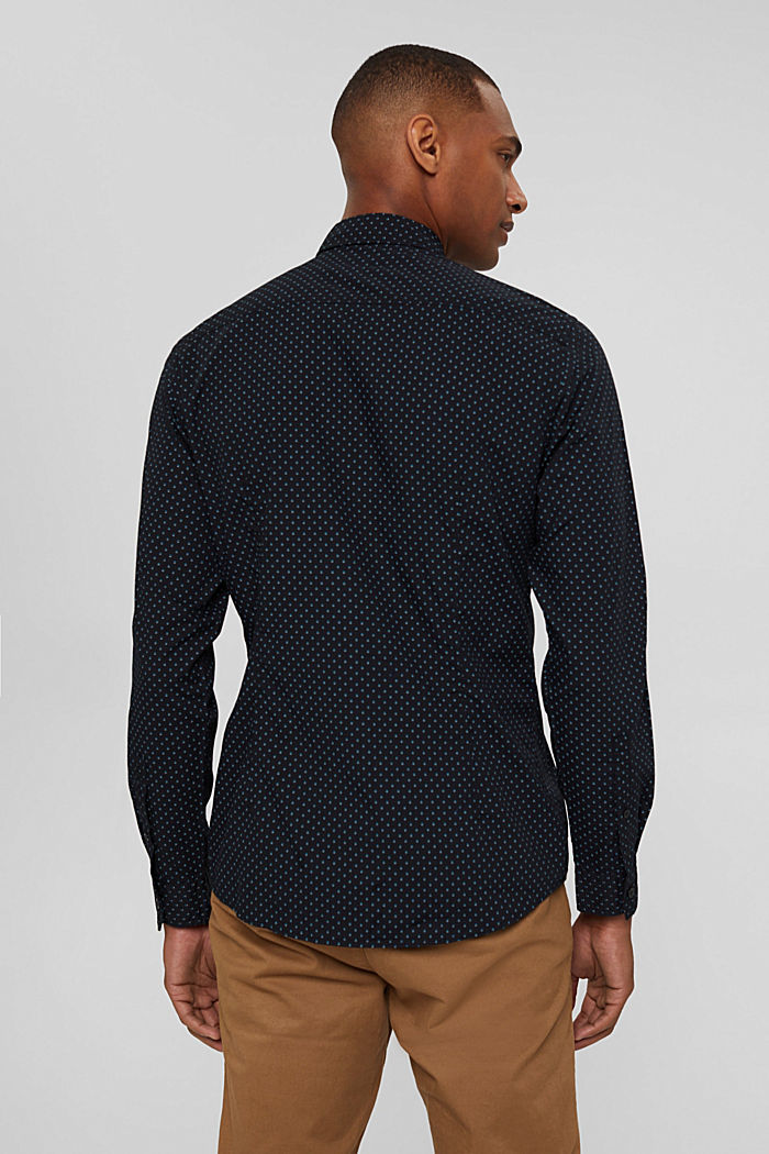 Button-down shirt with print, 100% organic cotton, BLACK, detail image number 3