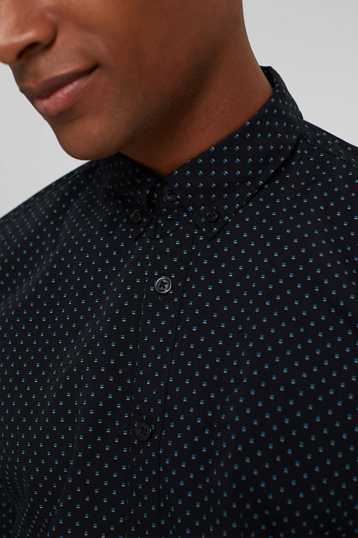 Button-down shirt with print, 100% organic cotton, BLACK, detail image number 2