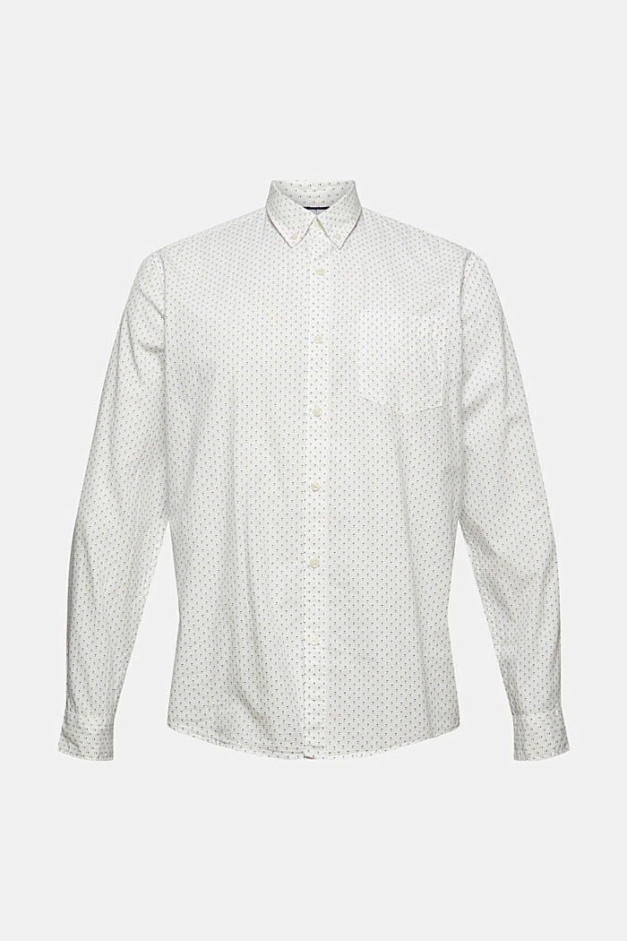 Buttondownoverhemd met print, 100% biologisch katoen