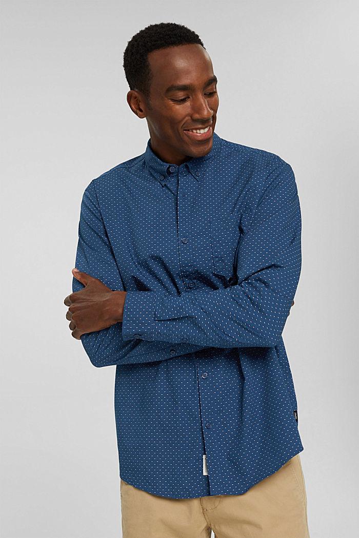 Button-down-skjorta med mönster, 100% ekobomull