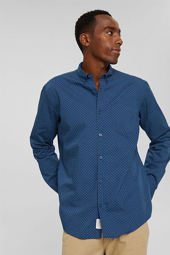 Button-Down-Hemd mit Print, 100% Bio-Baumwolle, DARK BLUE, detail image number 6