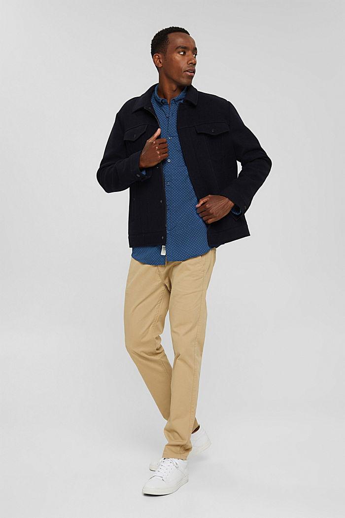 Button-Down-Hemd mit Print, 100% Bio-Baumwolle, DARK BLUE, detail image number 1