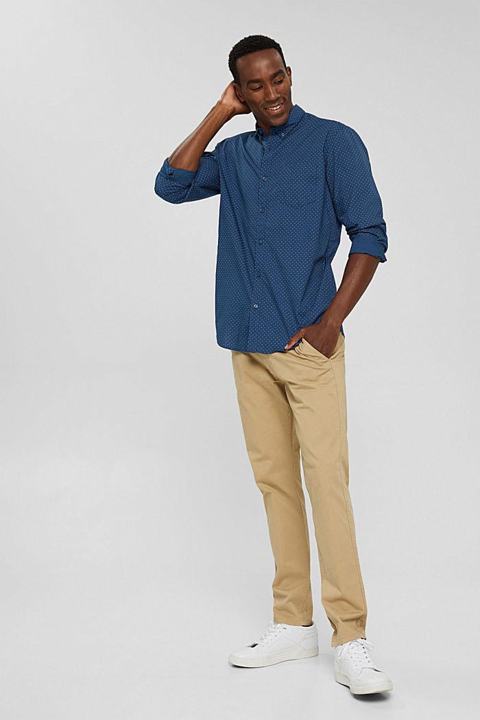 Button-Down-Hemd mit Print, 100% Bio-Baumwolle, DARK BLUE, detail image number 8