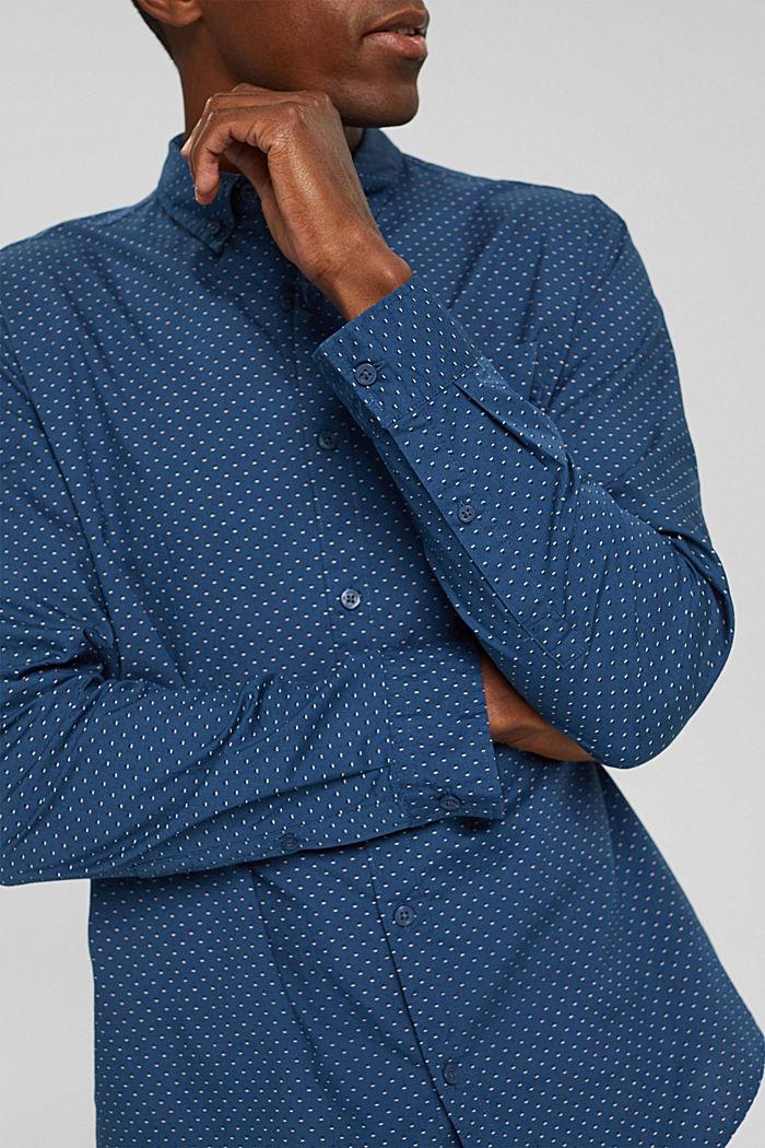 Button-Down-Hemd mit Print, 100% Bio-Baumwolle, DARK BLUE, detail image number 2