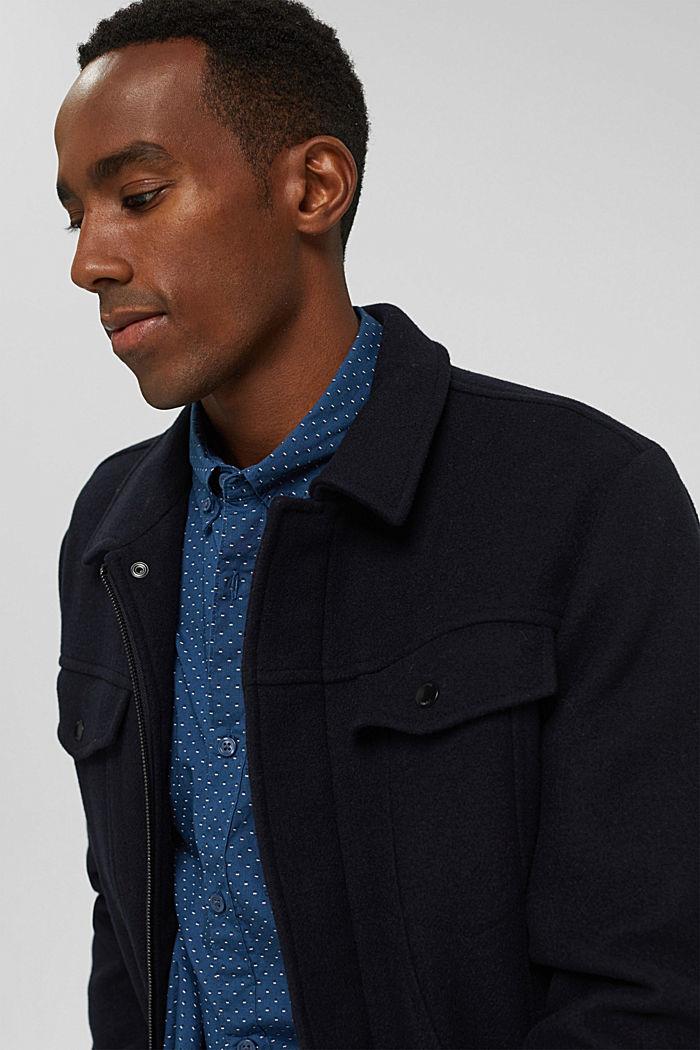 Button-Down-Hemd mit Print, 100% Bio-Baumwolle, DARK BLUE, detail image number 7