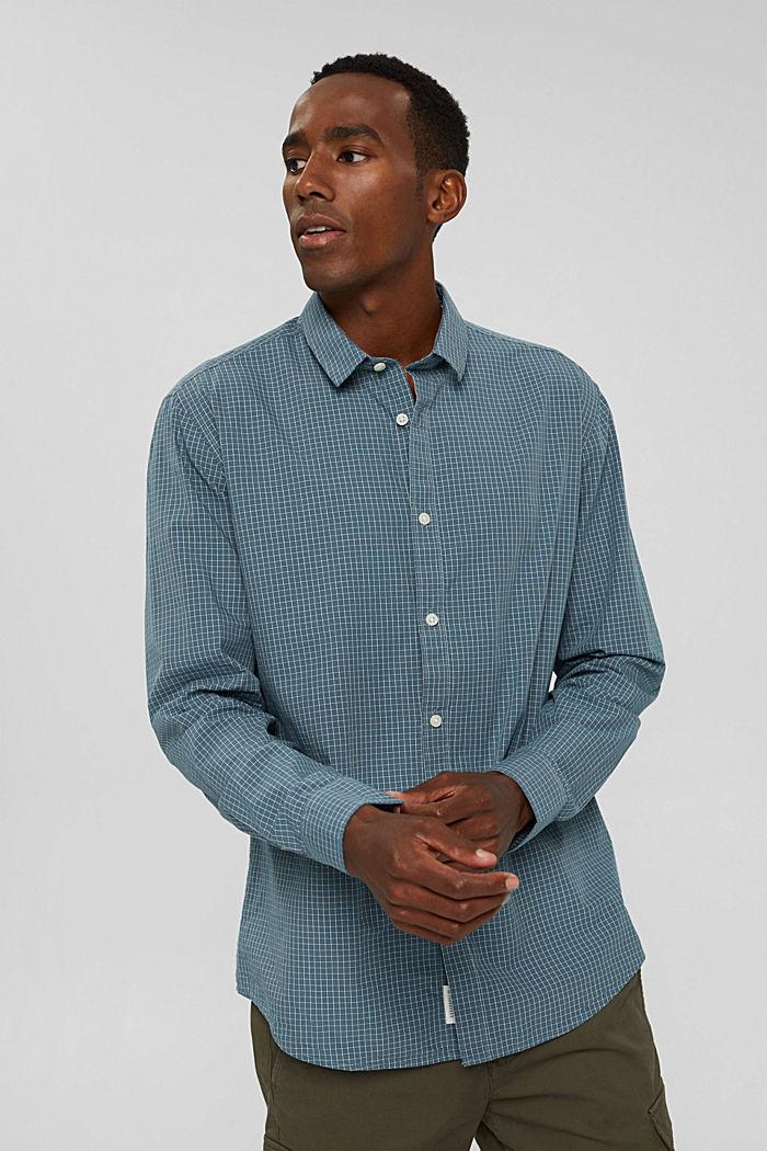 Kariertes Hemd aus 100% Bio-Baumwolle, PETROL BLUE, detail image number 6
