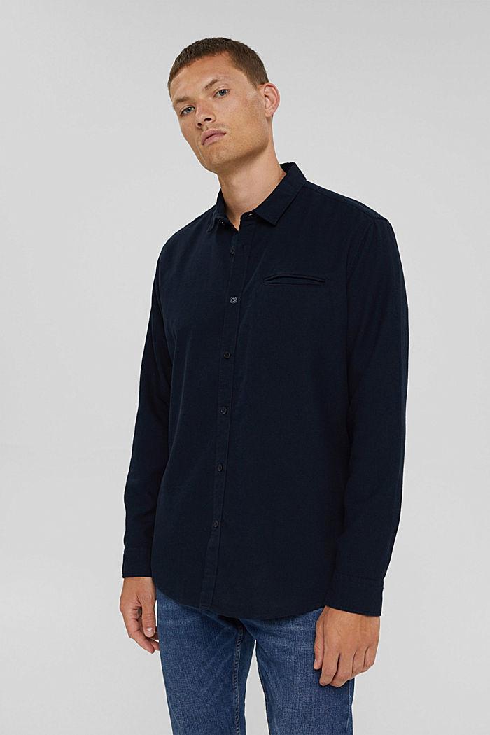 Gestructureerd overhemd van 100% biologisch katoen, NAVY, detail image number 0