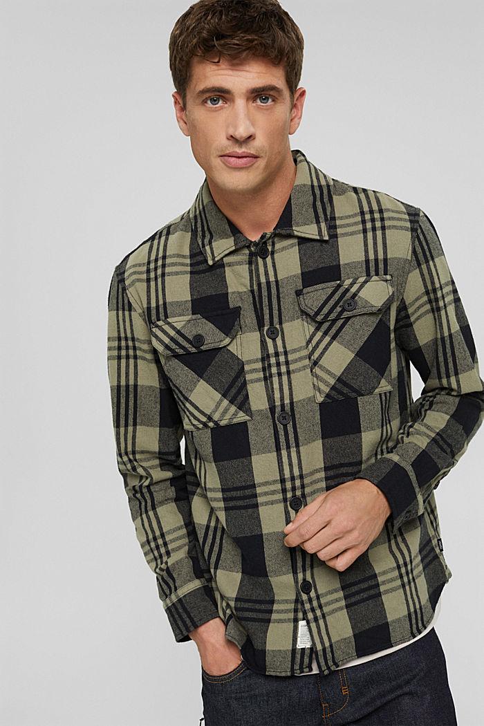 Kariertes Overshirt aus Bio-Baumwolle, BLACK, detail image number 0