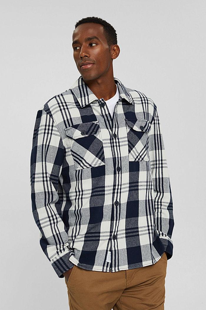Kariertes Overshirt aus Bio-Baumwolle, NAVY, detail image number 0
