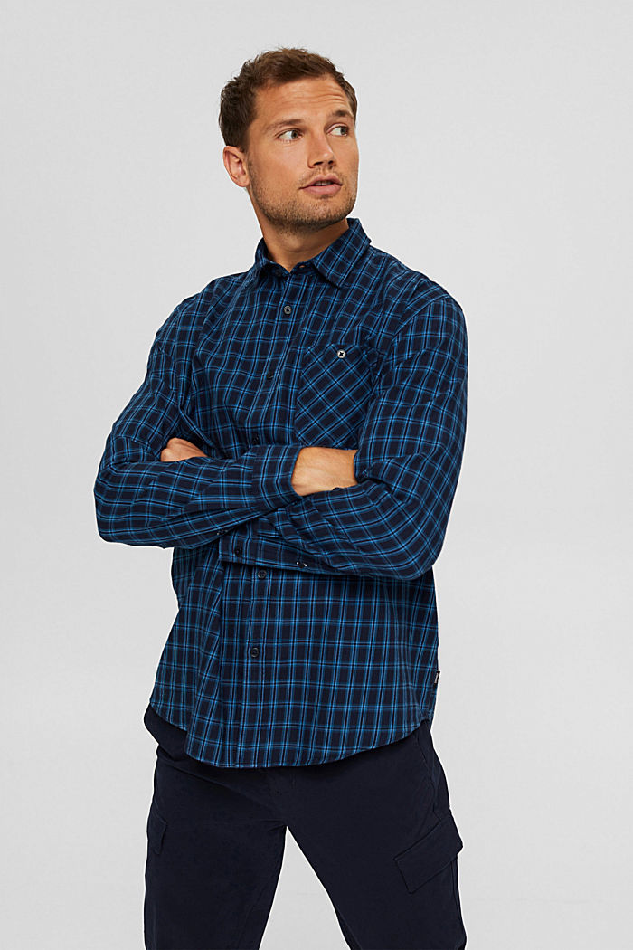 Check shirt made of 100% organic cotton, NAVY, detail image number 0